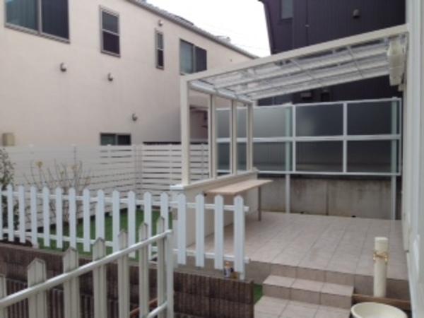 千葉県我孫子市 オープンテラス&目隠しフェンス&人工芝施工