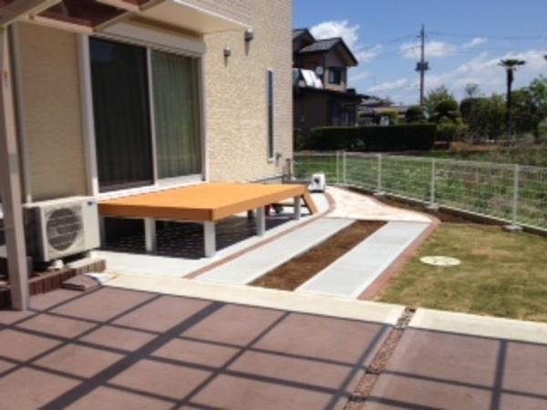 茨城県稲敷郡阿見町S様邸 樹脂ウッドデッキと天然石貼り施工のサムネイル